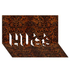 Damask2 Black Marble & Brown Burl Wood (r) Hugs 3d Greeting Card (8x4)