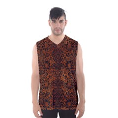 Damask2 Black Marble & Brown Burl Wood (r) Men s Basketball Tank Top