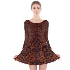 DMS2 BK MARBLE BURL (R) Long Sleeve Velvet Skater Dress