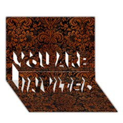 Damask2 Black Marble & Brown Burl Wood You Are Invited 3d Greeting Card (7x5)