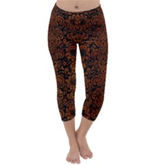 Damask2 Black Marble & Brown Burl Wood Capri Winter Leggings