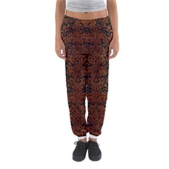 Damask2 Black Marble & Brown Burl Wood Women s Jogger Sweatpants