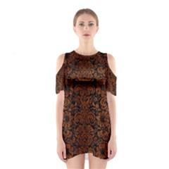 DMS2 BK MARBLE BURL Cutout Shoulder Dress