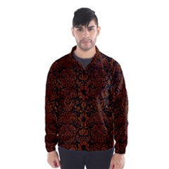 Damask2 Black Marble & Brown Burl Wood Wind Breaker (men)