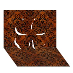 Damask1 Black Marble & Brown Burl Wood (r) Clover 3d Greeting Card (7x5)