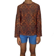 Damask1 Black Marble & Brown Burl Wood (r) Kids  Long Sleeve Swimwear