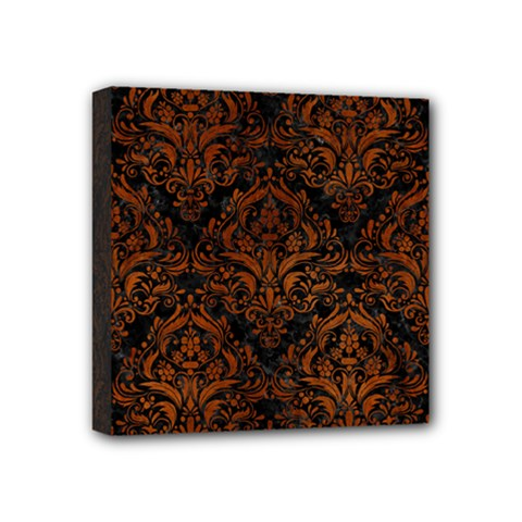 Damask1 Black Marble & Brown Burl Wood Mini Canvas 4  X 4  (stretched)