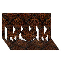 Damask1 Black Marble & Brown Burl Wood Mom 3d Greeting Card (8x4)