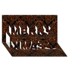 Damask1 Black Marble & Brown Burl Wood Merry Xmas 3d Greeting Card (8x4)