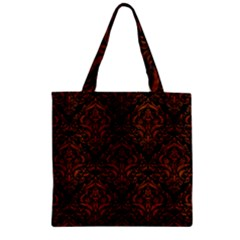 Damask1 Black Marble & Brown Burl Wood Zipper Grocery Tote Bag