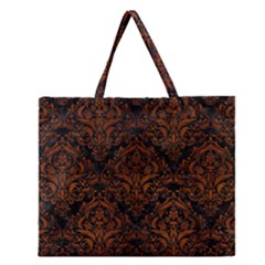 Damask1 Black Marble & Brown Burl Wood Zipper Large Tote Bag