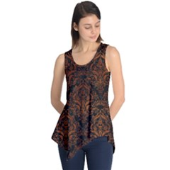 Damask1 Black Marble & Brown Burl Wood Sleeveless Tunic