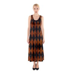 Diamond1 Black Marble & Brown Burl Wood Sleeveless Maxi Dress