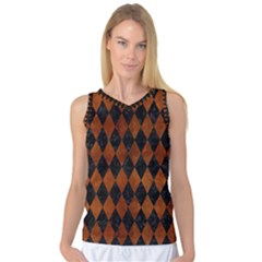 Diamond1 Black Marble & Brown Burl Wood Women s Basketball Tank Top