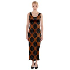 Circles2 Black Marble & Brown Burl Wood (r) Fitted Maxi Dress