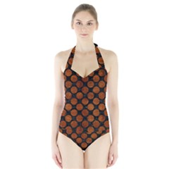 CIR2 BK MARBLE BURL Women s Halter One Piece Swimsuit