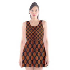 Circles2 Black Marble & Brown Burl Wood Scoop Neck Skater Dress