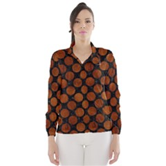 Circles2 Black Marble & Brown Burl Wood Wind Breaker (women)