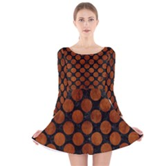 Circles2 Black Marble & Brown Burl Wood Long Sleeve Velvet Skater Dress