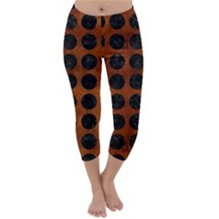 CIR1 BK MARBLE BURL (R) Capri Winter Leggings
