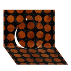Circles1 Black Marble & Brown Burl Wood Circle 3d Greeting Card (7x5)