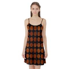 Circles1 Black Marble & Brown Burl Wood Satin Night Slip