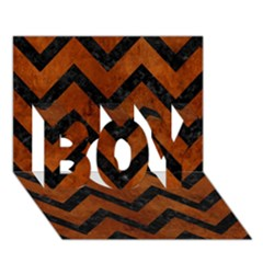 Chevron9 Black Marble & Brown Burl Wood (r) Boy 3d Greeting Card (7x5)