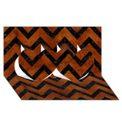Chevron9 Black Marble & Brown Burl Wood (r) Twin Hearts 3d Greeting Card (8x4)