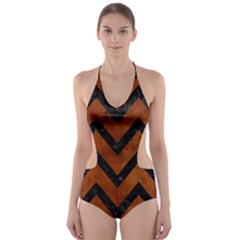 CHV9 BK MARBLE BURL (R) Cut-Out One Piece Swimsuit