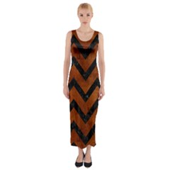 Chevron9 Black Marble & Brown Burl Wood (r) Fitted Maxi Dress