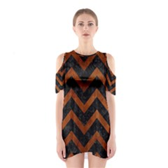Chevron9 Black Marble & Brown Burl Wood Shoulder Cutout One Piece