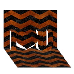 Chevron3 Black Marble & Brown Burl Wood I Love You 3d Greeting Card (7x5)