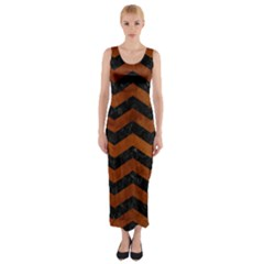 Chevron3 Black Marble & Brown Burl Wood Fitted Maxi Dress
