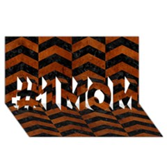 Chevron2 Black Marble & Brown Burl Wood #1 Mom 3d Greeting Cards (8x4)