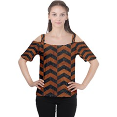Chevron2 Black Marble & Brown Burl Wood Cutout Shoulder Tee