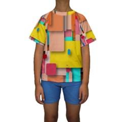 Rounded Rectangles Kid s Short Sleeve Swimwear