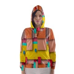 Rounded Rectangles Hooded Wind Breaker (women)