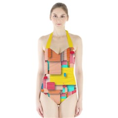 Rounded Rectangles Women s Halter One Piece Swimsuit