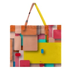 Rounded Rectangles Zipper Large Tote Bag