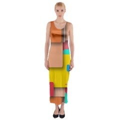 Rounded Rectangles Fitted Maxi Dress