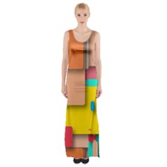 Rounded Rectangles Maxi Thigh Split Dress