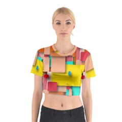 Rounded Rectangles Cotton Crop Top