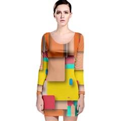 Rounded Rectangles Long Sleeve Velvet Bodycon Dress