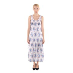 Modern Red And Blue Stars Pattern On White Full Print Maxi Dress
