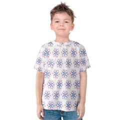 Modern Red And Blue Stars Pattern On White Kid s Cotton Tee