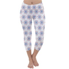 Modern Red And Blue Stars Pattern On White Capri Winter Leggings