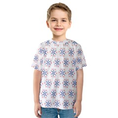 Modern Red And Blue Stars Pattern On White Kid s Sport Mesh Tee