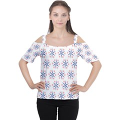 Modern Red And Blue Stars Pattern On White Women s Cutout Shoulder Tee
