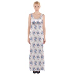Modern Red And Blue Stars Pattern On White Maxi Thigh Split Dress