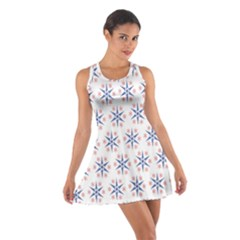 Modern Red And Blue Stars Pattern On White Racerback Dresses